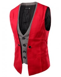 Colete Masculino Slim Fit Vermelho Double