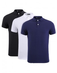 Kit 3 Polo Masculina Pima