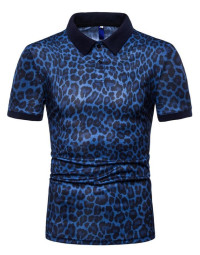 Polo Masculina Animal Print Azul