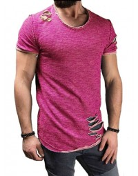 T-shirt Masculina Destroyed Rosa