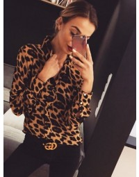 Camisa Feminina Animal Print Decote V