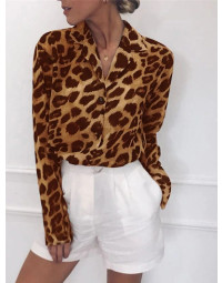Camisa Feminina Marrom Estampa Animal Print