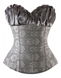 Corselet Espartilho Prata Brocado