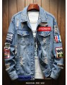 Jaqueta Masculina Azul Jeans Destroyed Patch