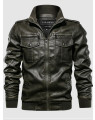 Jaqueta Masculina Couro Verde Army Special Soul